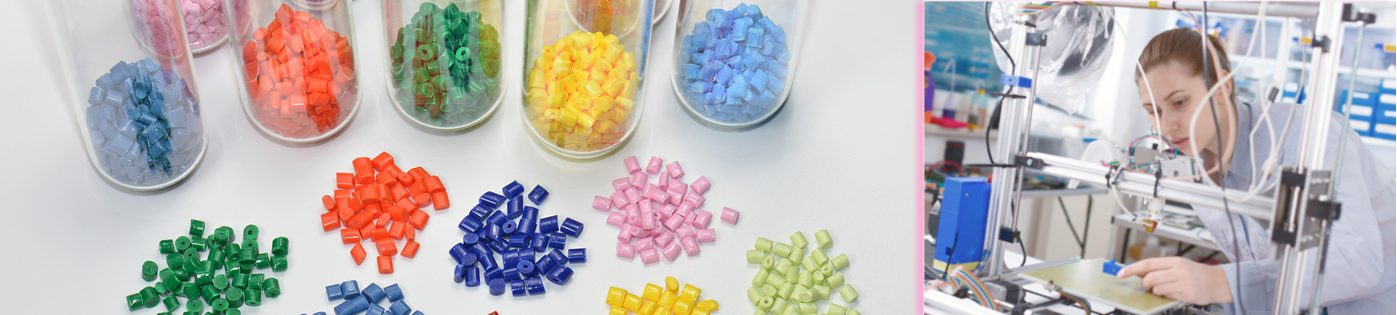 Plastiques de couleur et femme labo